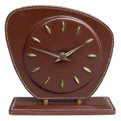 French Handstitched Brown Leather Clock, Jacques Adnet Attributed, 1950s