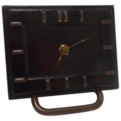 French Handstitched Leather Clock