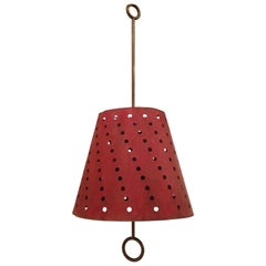 French Hanging Lamp with Perforated Red Shade, 1950s