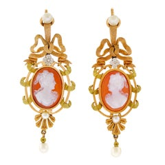 French Hardstone Cameo and Pearl Set Gold Earrings