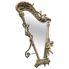 French Harp Form Table Mirror in Silvered Bronze, circa 1890