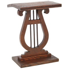 French Harp or Lyre Style Side Table, Warped Top with Inlays, circa 1880s