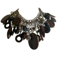 """French Haute Couture Silver Pearl Statement Necklace """"Collier"""""""