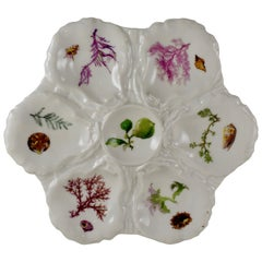 French Haviland Limoges Porcelain Hand-Painted Sea Fan & Shells Oyster Plate