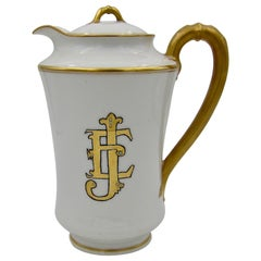 French Haviland Limoges Porcelain Teapot with Gilt Accents