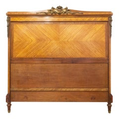 French Headboard Bronze and Mahogany Marquetry Louis XVI Revival, 1900