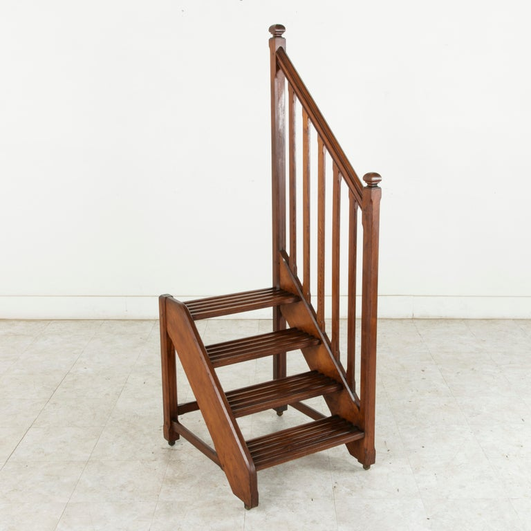 French Heart Pine Library Steps Or Ladder On Castors With