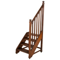 French Heart Pine Library Steps or Ladder on Castors with Hand Rail, circa 1900