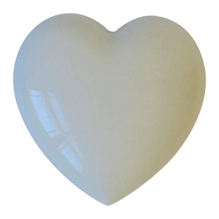 French Heart White Porcelain Jewelry Box For Sale