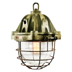 French Heavy Brown Cast Iron Vintage Industrial Clear Glass Pendant Lamp