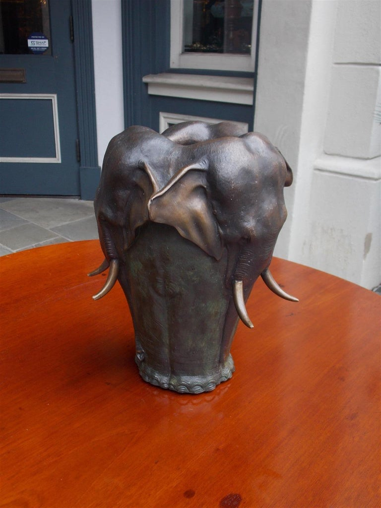French heavy cast figural bronze elephant vase after Antoine-Louis Barye, Signed A. Barye, Late 19th Century. Approximately 25lbs in weight.