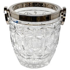 French Heavy Cut Crystal and Sterling Ice Bucket