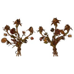 French Heavy Vibrant Colours Flowers Tole Sconces, 1900s