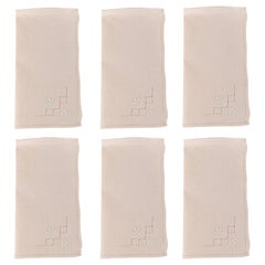 French Hem Stitched Ballet Pink Embroidered Cloth Napkins, Set of 4