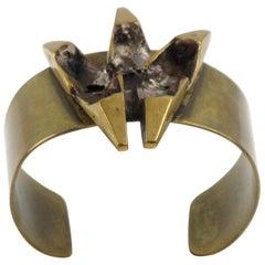 French Henri Nogaret Brutalist Bronze Cuff Bracelet