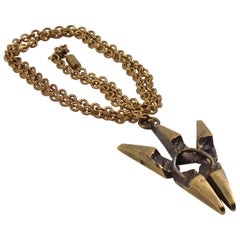 French Henri Nogaret Brutalist Bronze Pendant Necklace