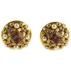 French Henry Perichon Gilt Metal Clip-on Earrings with Gemstones