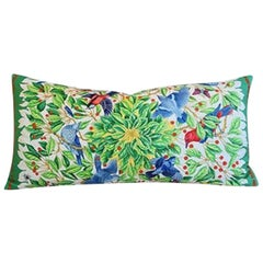 "French Hermès ""Armets en Penache"" Pillow, Blue/Yellow"