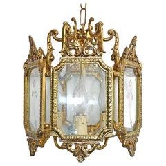 French Hexagonal Empire Gilt Bronze & Etched Glass 3-Light Lantern or Chandelier