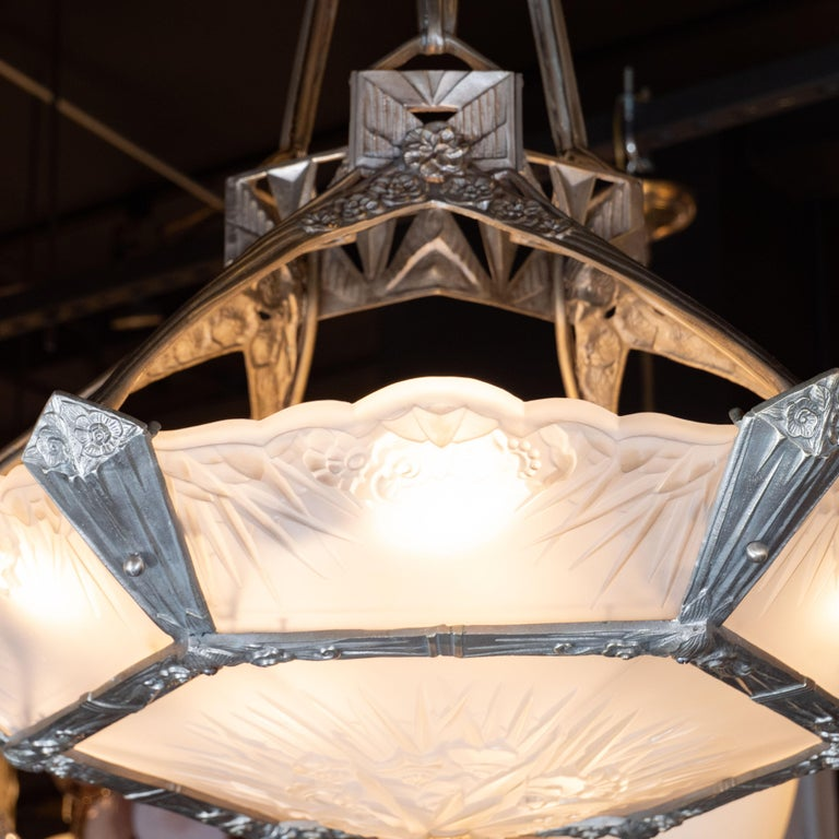 Mid-20th Century French Art Deco Cubist Silvered Bronze and Frosted Glass Chandelier For Sale