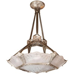 French Art Deco Cubist Silvered Bronze and Frosted Glass Chandelier