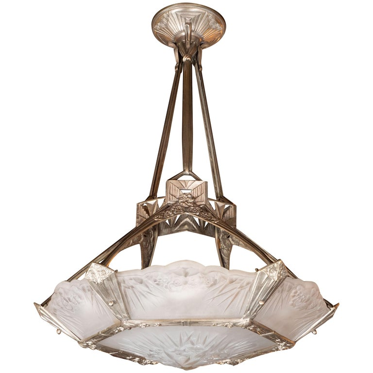 French Art Deco Cubist Silvered Bronze and Frosted Glass Chandelier For Sale