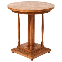 French Highly Figured Oak Pedestal Table, circa 1920s