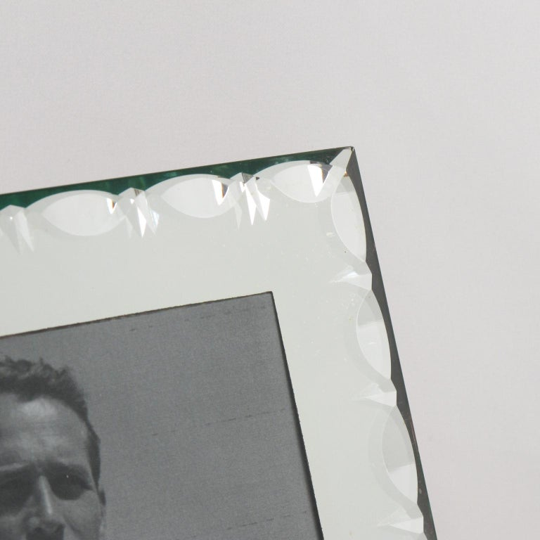 Glass French Hollywood Regency 1940s Mirror Picture Photo Frame For Sale