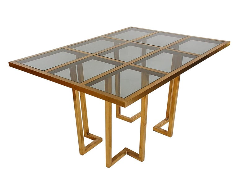 Mid-20th Century French Hollywood Regency Brass and Glass Grid Dining Table after Mastercraft For Sale