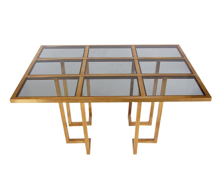 French Hollywood Regency Brass and Glass Grid Dining Table after Mastercraft For Sale 1