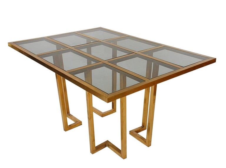 French Hollywood Regency Brass and Glass Grid Dining Table after Mastercraft For Sale 3