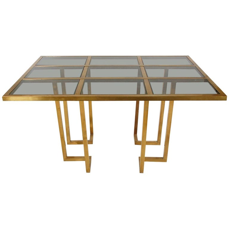French Hollywood Regency Brass and Glass Grid Dining Table after Mastercraft For Sale
