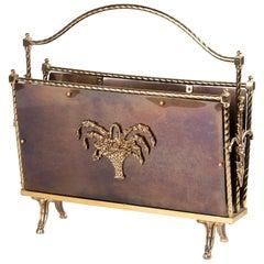 French Hollywood Regency Copper Magazine Rack