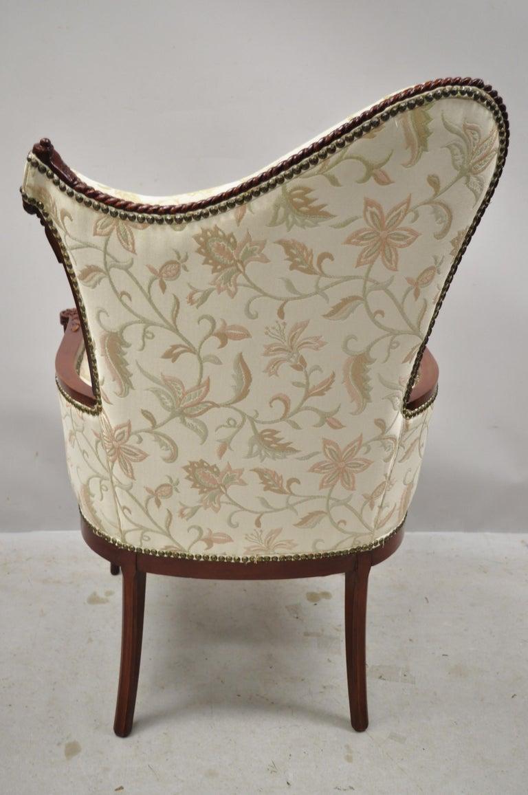 French Hollywood Regency Dorothy Draper Style Tassel Fireside Mahogany Armchair For Sale 5