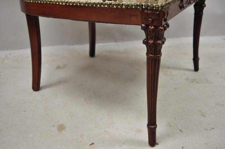 French Hollywood Regency Dorothy Draper Style Tassel Fireside Mahogany Armchair For Sale 7