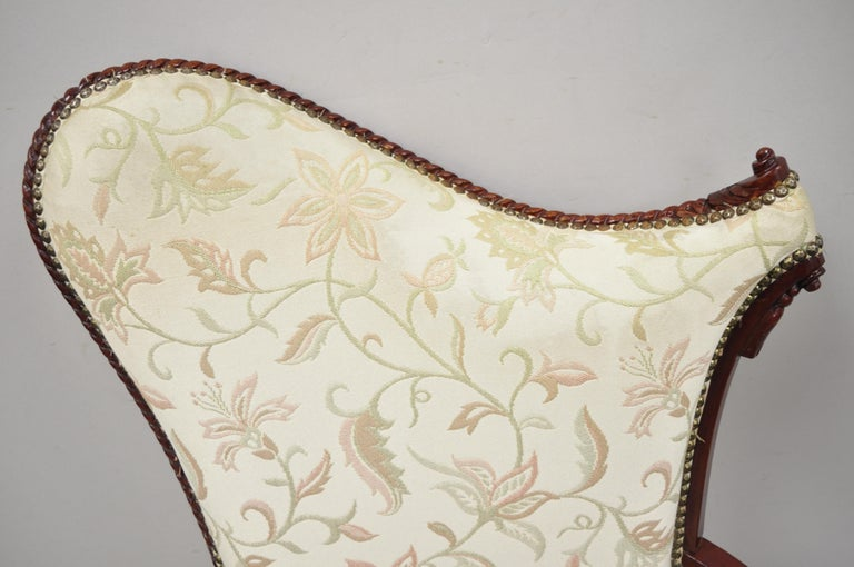 North American French Hollywood Regency Dorothy Draper Style Tassel Fireside Mahogany Armchair For Sale