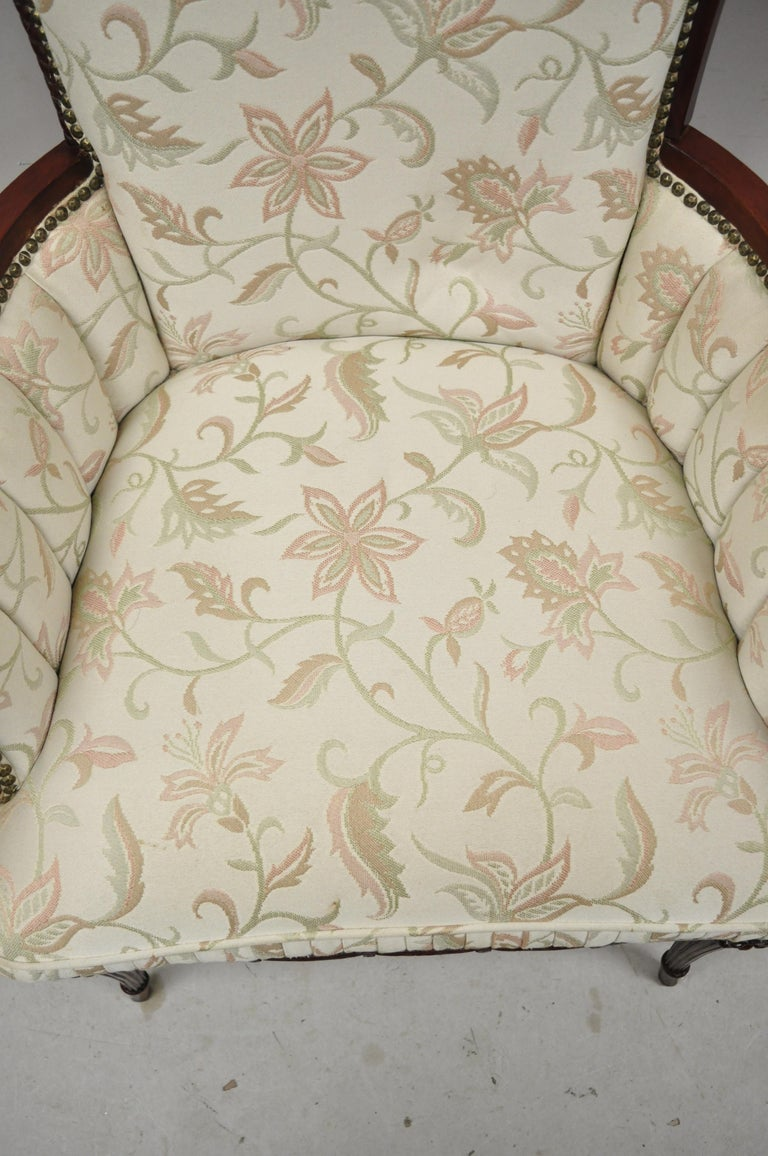 French Hollywood Regency Dorothy Draper Style Tassel Fireside Mahogany Armchair In Good Condition For Sale In Philadelphia, PA