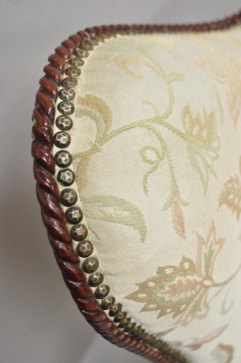 20th Century French Hollywood Regency Dorothy Draper Style Tassel Fireside Mahogany Armchair For Sale