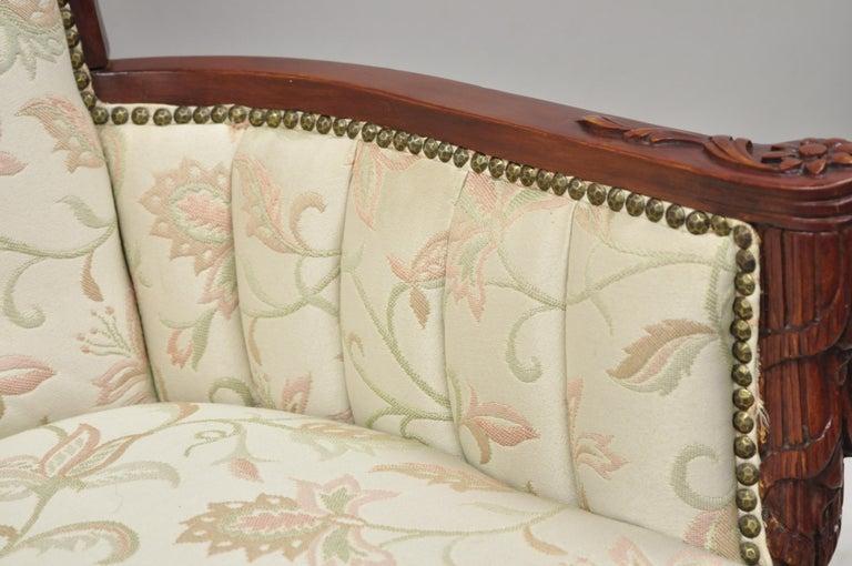 French Hollywood Regency Dorothy Draper Style Tassel Fireside Mahogany Armchair For Sale 2