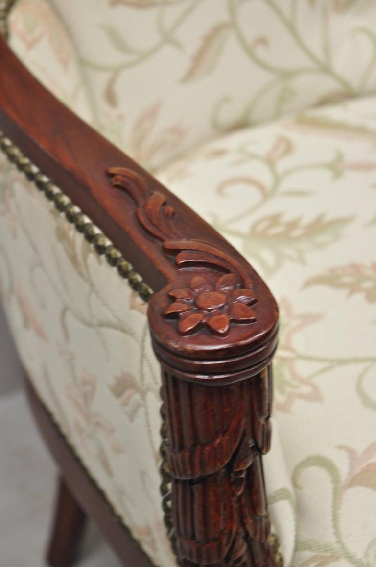 French Hollywood Regency Dorothy Draper Style Tassel Fireside Mahogany Armchair For Sale 3