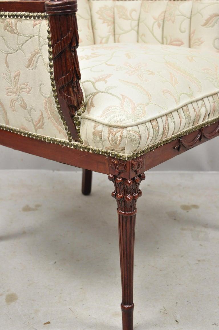 French Hollywood Regency Dorothy Draper Style Tassel Fireside Mahogany Armchair For Sale 4