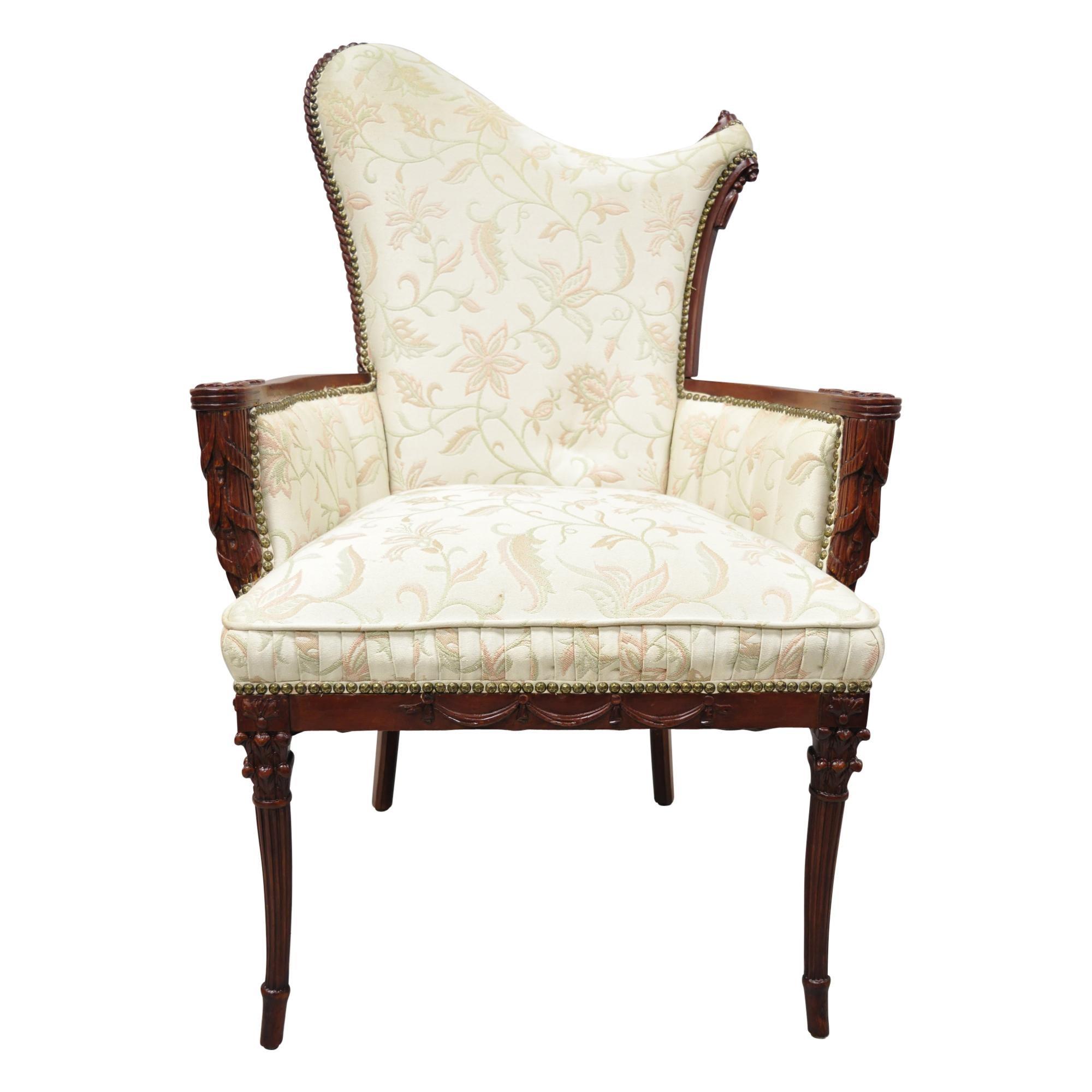 French Hollywood Regency Dorothy Draper Style Tassel Fireside Mahogany Armchair