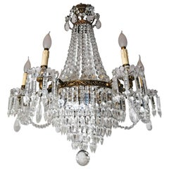 French Hollywood Regency Empire Gilt Bronze Crystal Garlands 12-Light Chandelier