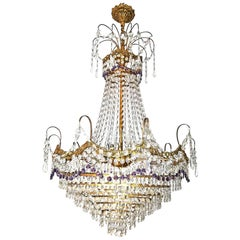 French Hollywood Regency Empire,Amethyst Cut Crystal & Bronze 8 Light Chandelier