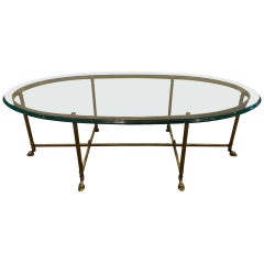 French Hollywood Regency Jansen Style Coffee / Low Table Having a Fine Glass Top