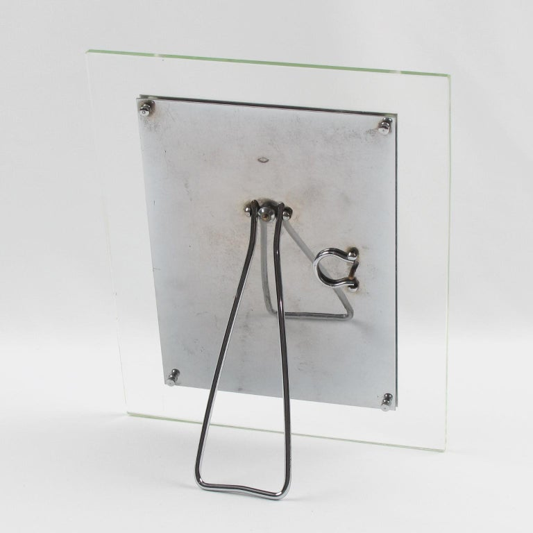 French Hollywood Regency Modern Glass and Chrome Picture Photo Frame In Excellent Condition For Sale In Atlanta, GA