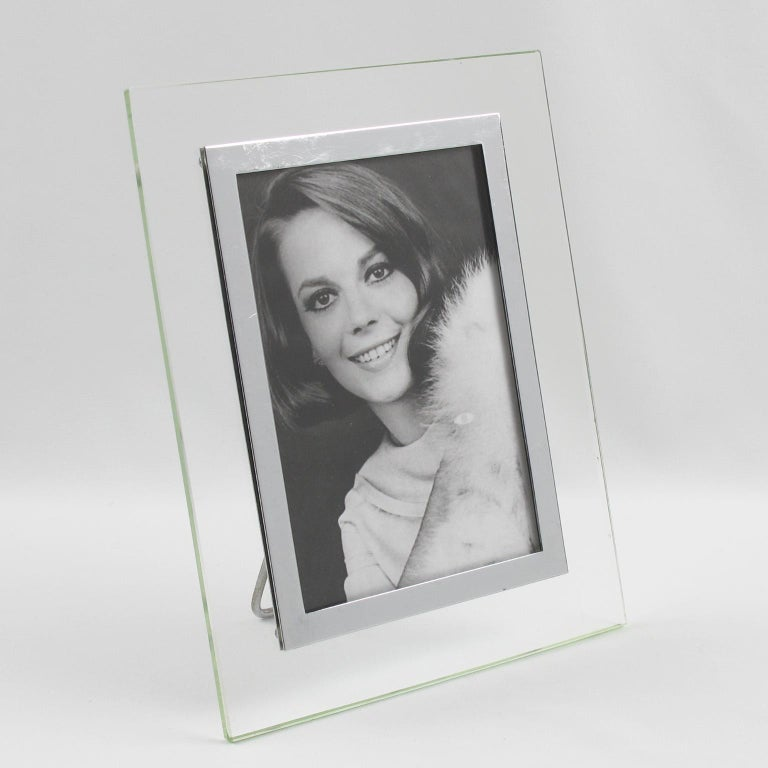 Mid-20th Century French Hollywood Regency Modern Glass and Chrome Picture Photo Frame For Sale