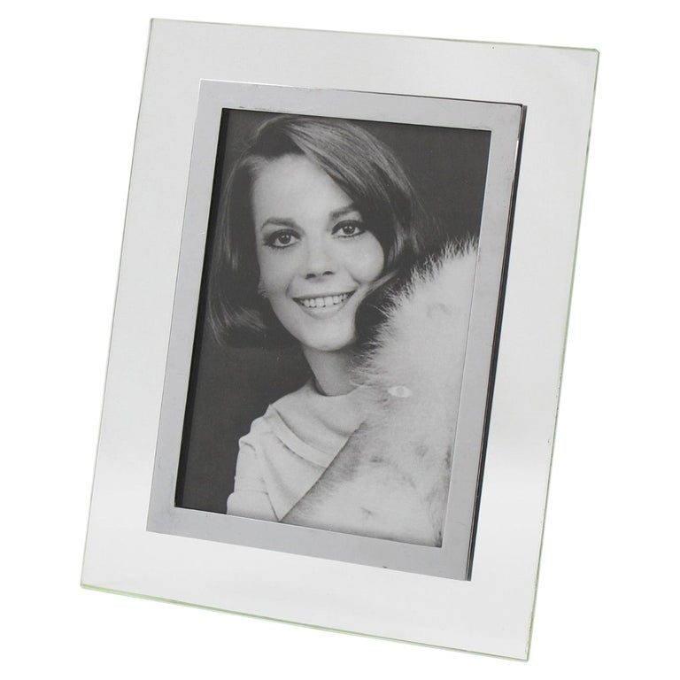 French Hollywood Regency Modern Glass and Chrome Picture Photo Frame For Sale
