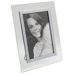 French Hollywood Regency Modernist Glass and Chrome Picture Photo Frame
