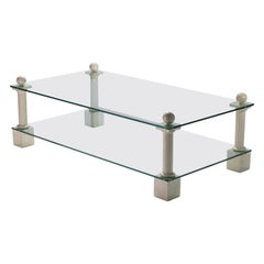French Hollywood Regency Philippe Barbier Travertine Glass Coffee Table, 1970s